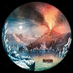 Hekla Volcano  Iceland  hand-coloured magic lantern slide  19th century.