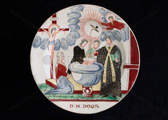 Creamware plate  late 18th century.