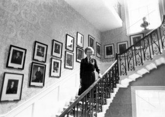 Margaret Thatcher on the stairs  10 Downing Street  September 1985.