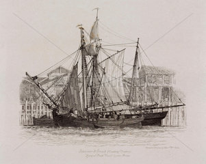 Schooner and smack at Fresh Wharf  London Bridge  1829.