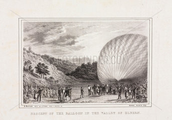 'Descent of the Balloon in the Valley of Elbern'  8 November 1836.