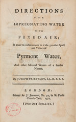 Title page of 'Directions for Impregnating water with fixed air'  1772.