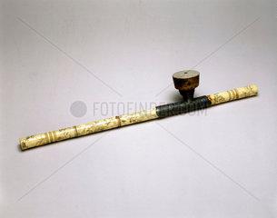 Ivory opium pipe  Chinese  19th century.