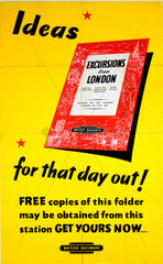 'Ideas for that Day Out! Excursions from London'  BR poster  c 1960s.
