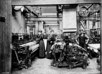 Power looms using Jacquard cards  Darvel  East Ayrshire  c 1900.