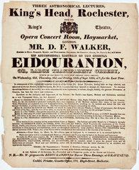 Handbill advertising Mr Walker's astronomical lectures  Rochester  1824.