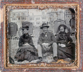 Group of people on a beach  ambrotype  c 1870.