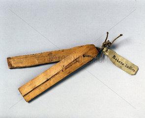 Pair of baker's tallies  17th century.