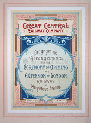 Great Central Railway Company leaflet  1899.