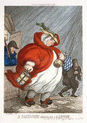 'A Midwife going to a labour'  1811.