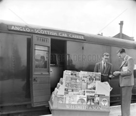 Railway newsagent stall  30 May 1960.