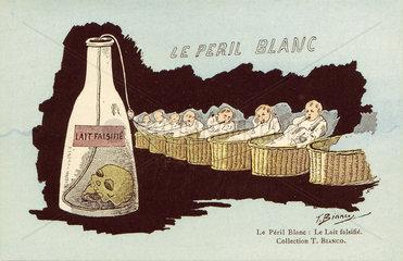 'Le Peril Blanc - Le Lait Falsifie'  c 1910.