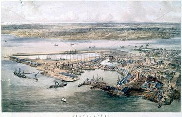 Aerial view of Southampton Docks  1840-1880.