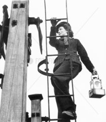 Woman working on the railways  World War Two  1940-1943.