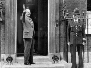Harold Macmillan outside No 10 Downing Street  London  October 1959.