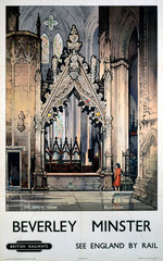 'The Percy Tomb  Beverley Minster'  BR poster  c 1960.