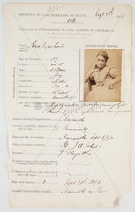 Prison registration card for Ann Graham  13 September 1873.
