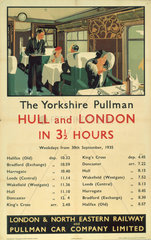 'The Yorkshire Pullman'  LNER/Pullman Car Company Limited poster  1935.