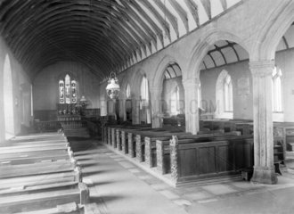 Inside Talland Church  near Polperro  Cornwall  1922.