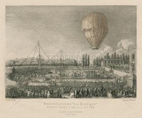 Ascent of the Montgolfiers' 'Le Gustave'  Lyon  France  4 June 1784.