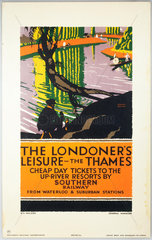 'The Londoner's Leisure - The Thames'  SR poster  1926.