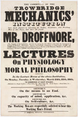 Advertisement for lectures on physiology and moral philsophy  24-26 March 1851.