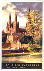 'Lichfield Cathedral'  BR poster  1957.