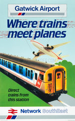 'Gatwick Airport - Where Trains Meet Planes'  BR poster  1987.