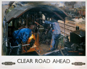 'Clear Road Ahead'  BR poster  1950s.