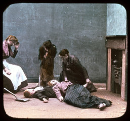 Unconscious woman and boy discovered  c 1895.