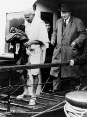 Mahatma Gandhi arriving at Folkestone  Kent  1931.