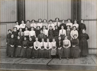 Women workers outside Doncaster works  South Yorkshire  c 1905.