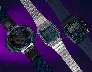 Three Casio digital watches  1990s.