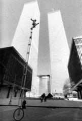 Unicycle rider near the World Trade Center  Manhattan  New York  c 1980s.