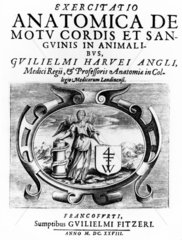 Title page from 'Anatomical Treatise on the Movement of the Heart and Blood in Animals'  1628.