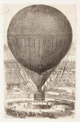 Captive balloon ascent from the Tuilleries  Paris  1878.
