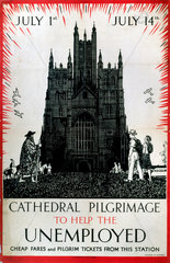 'Cathedral Pilgrimage to Help the Unemployed'  LMS poster  1930s.