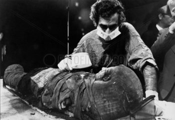 Pathologist examining the mask of a mummy  Manchester  10 June 1975.