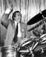 Dennis Healey playing the drums  June 1983.
