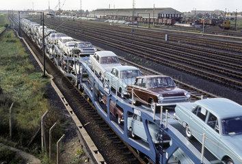 'Ford's Cartic train en route'  Dagenham  Greater London  1965.