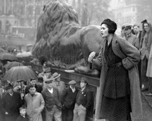 Jennie Lee speaking at the Busmen's Mass Meeting  London  9 May 1937.