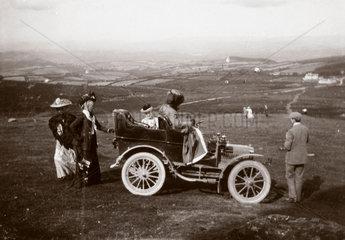 The first 10 hp Rolls-Royce motor car parked near Hay Tor  Devon  1904.