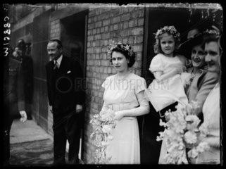 Bridesmaid Princess Elizabeth at a wedding  1946.