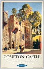 'Compton Castle'  BR (WR) poster  1950s.