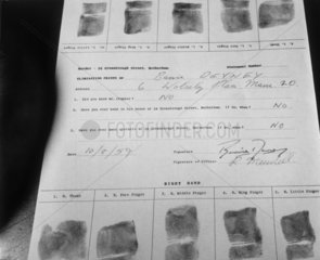 Fingerprints taken during a murder investigation  10 August 1959.