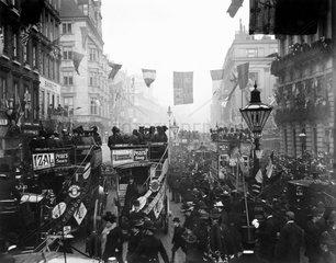 Celebrations in Regent Street  London  c 1910s.