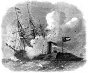 'Merrimack' sunk by 'Cumberland'  1862.