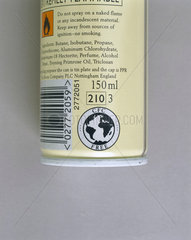 'CFC Free' label on canister of deodorant  1999.