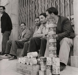 British Army supplies of corned beef being sold in Greece  18 June 1946.