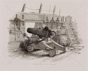 'A Brig of War's 12 Pounder Carronade'  1829.